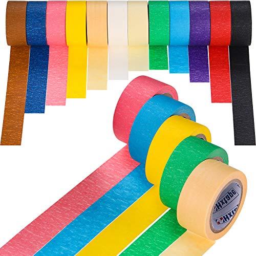 Farbige Masking Tape Kinder Craft Set, 12 Rollen Masking Tape 1 Zoll Farbiges Klebeband DIY Arts Kit Label Band Kinder Handwerk Coding Tape -