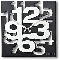 3 D Design 32,5 cm Modern Wanduhr 1106 weiß orange