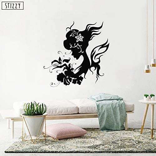yaoxingfu Wandtattoo Hochwertige Mädchen Blumen Muster Design Wandsticker Frau Beauty Salon Mode Natur Floral Art Decor schwarz 57x57cm