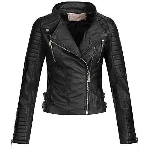 Ausnahme-Zustand AZ Damen Kunst-Lederjacke Übergangsjacke Jacke Bikerjacke gesteppt 17069 S-XL, Größe:S;Farbe:Schwarz