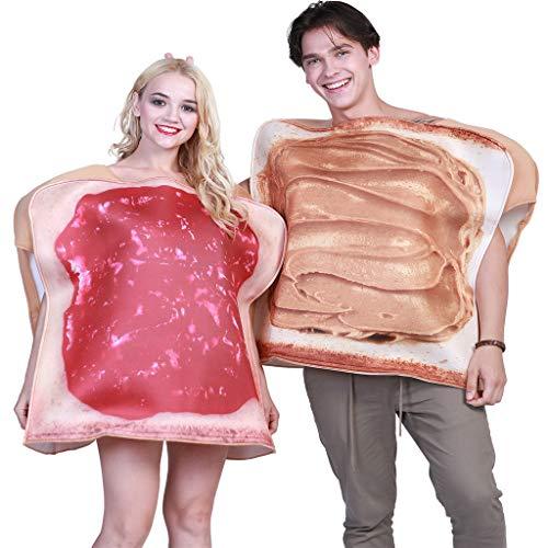 ✬ Erwachsene Halloween Kostüme für Paare, 2 Stück Erdnussbutter & Gelee Erwachsene Paare Halloween Kostüme Party & Cosplay Anzüge, Lustiges Essen Paar Halloween Frühstück Kostüm (Lustig Paar Kostüm)