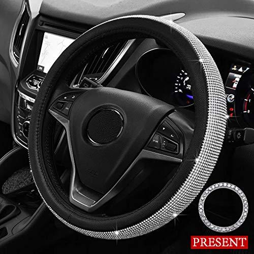 Pahajim copertura del volante dell'automobile di bling rhinestone di cristallo diamanti di modo brillare traspirante antiscivolo auto wheel manica protector(nero-bianco)