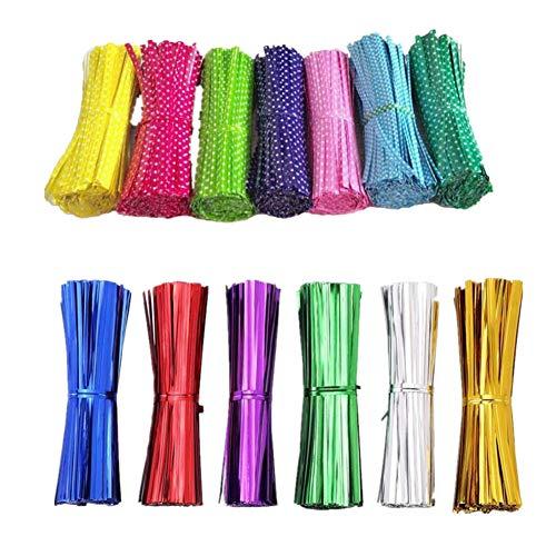 Fully 600 pièces Twist Ties Lot de 10 Bandes de Reliure en métal pour Sachet en Verre cellulaire 10 cm