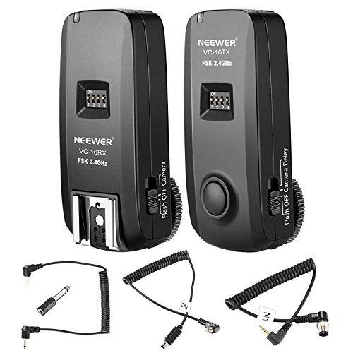 Neewer 3-in-1 Funkfernauslöser 16 Kanal 2,4G mit N1 und N3 Verschlusskabel für Nikon DSLR-Kameras wie D7100, D7000,D800,D700,D600,D90, Speedlite Flash, VISION4 Studio Strobe (VC-16) Strobe Set