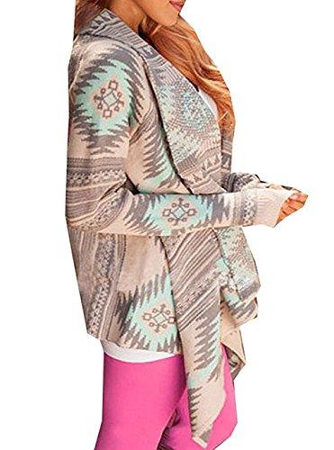 Femme Cardigan Asymetrique Veste en Tricot Motif Géométrique Imprimé Manteau Automne à Manches Longues Outwear Ouvert Fluide Jaquette Kimono Top Vert