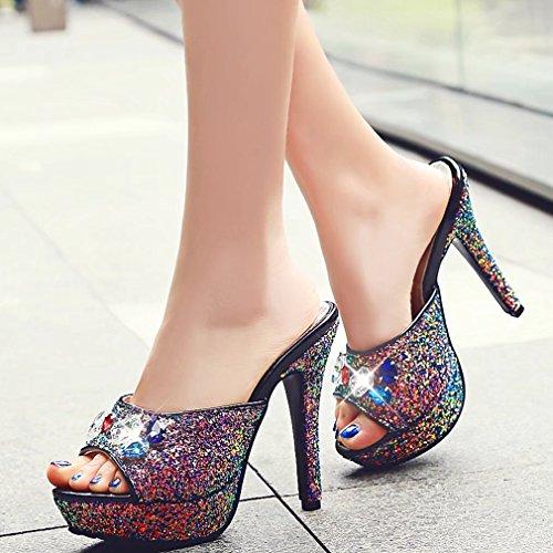 AIYOUMEI Damen Peep Toe High Heels Plateau Pantoletten mit Strass Bequem Modern Stiletto Sandalen Schuhe  34 EUBeige