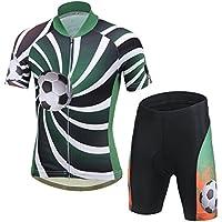 YFPICO Niños Niñas Conjuntos Maillots de Bicicleta Top de Manga Corta + Pantalones Traje de Ciclismo, Verde, 146