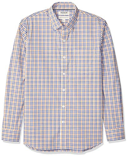 Goodthreads Standard-Fit Long-Sleeve Stretch Poplin (All Hours) button-down-shirts, Blue Yellow Multi Check, US S (EU S) -