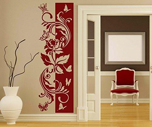 umen Ranke Rose Blätter Floral Schmetterlinge Deko Streifen Gras Wandaufkleber Wohnzimmer 1U248, Farbe:DunkelRot glanz;Höhe Banner:120cm ()