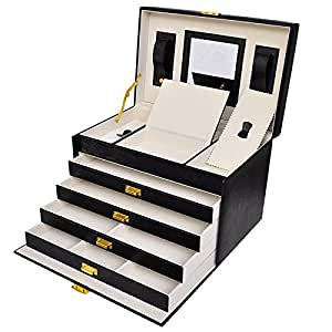 grande boite bijoux simili cuir nombreux rangement bijoux maquillage cosm tique. Black Bedroom Furniture Sets. Home Design Ideas
