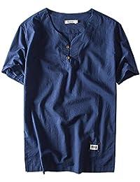 Aieoe Camisa para Hombre Verano Manga Corta Sin Cuello Tops Casual con Botones Lino Transpirable Elegante Confortable XL… yF9vsb