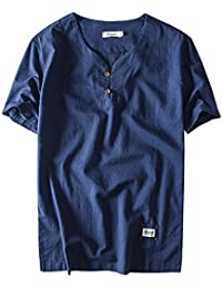 Aieoe Camisa para Hombre Verano Manga Corta Sin Cuello Tops Casual con Botones Lino Transpirable Elegante Confortable XL…