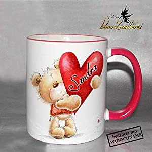 Namenstasse Valentinstag, Tasse mit Namen zum Valentinstag, Bürotasse mit Namen, Namenstasse für Verliebte, Teddybär, Bär, Teddy, Namenstasse Teddy
