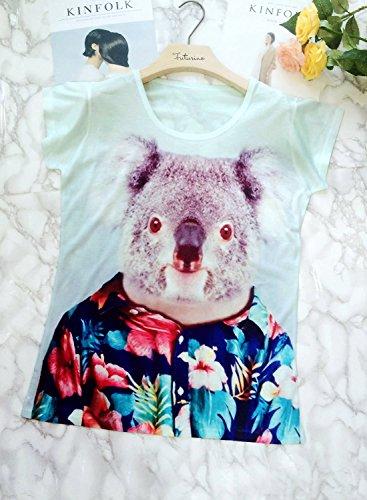 Futurino Damen Wunderlicher Koala-Bär in Hawaii-Blumendruck-T-Shirt Tops Koala