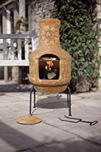 Clay Sunset Pizza Chiminea Chimenea with BBQ Grill Patio Heater Wood Burner