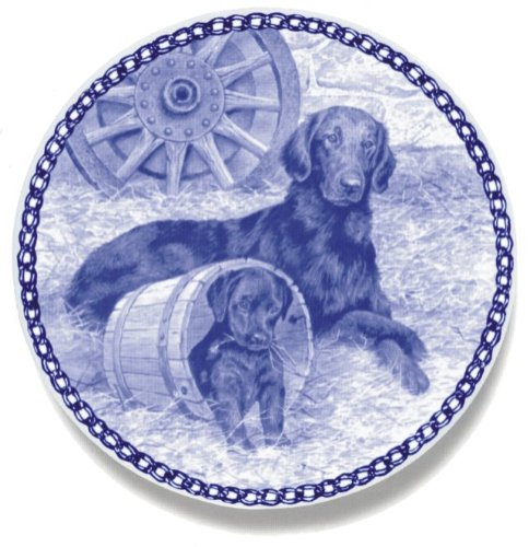 Flat-coated Retriever Lekven Design Dog Plate 19.5 cm /7.61 inches Made in Denmark NEW with certificate of origin PLATE #3025