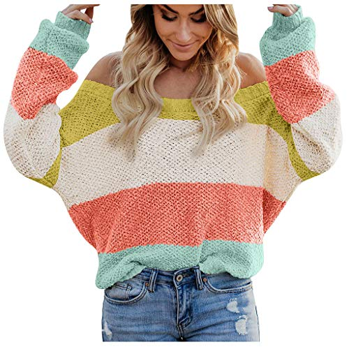 BOLANQ Mehrfarbig Sweatshirt Pullover Damen Damenmode Casual Slim Fit Langarm Streifen Slash-Neck Strickpullover(Medium,Gelb)