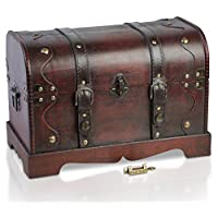 Brynnberg - Pirate Treasure Chest Storage Box - Durable Wood & Metal Construction - Unique, Handmade Vintage Design With A Front Lock - Striking Decorative Element - The Best Gift (Frisco)