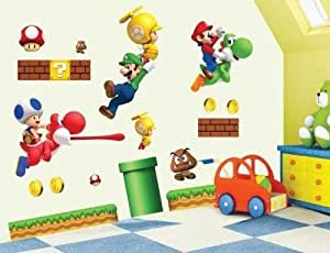 aolevia sticker mural naturel super mario bros stickers pour enfant autocollant mur stickers. Black Bedroom Furniture Sets. Home Design Ideas
