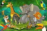 great-art Fototapete Kinderzimmer Dschungel Tiere 210 x 140 cm - 5-teilige Tapete Spielzimmer Wandbild