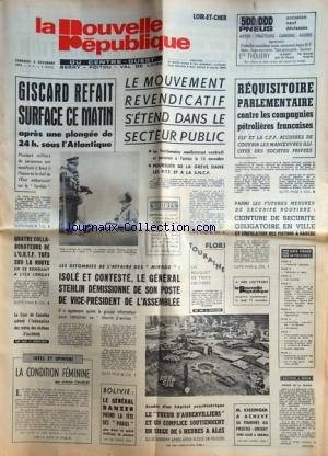 NOUVELLE REPUBLIQUE (LA) du 08/11/1974 - GISCARD R...