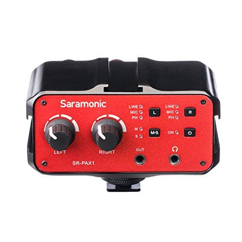 Saramonic SR-PAX1 2-Kanal Audio Mixer Vorverstärker Mikrofon Adapter mit Dual XLR / 6,3mm / 3,5 mm Eingänge + 3,5 mm Ausgang für iPhone 7 7 plus 6 6s Smartphone Gitarre DSLR Kameras Camcorder