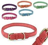 Pear - Tannery - Fashion Line: Hundehalsband Aus Weichem Vollrindleder, Handgerollt, XXS 24-31cm, Rot