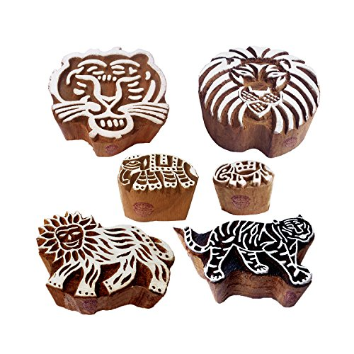 Textile Wooden Blocks Handmade Lion Tiger Design Printing Stamps (Set of 6)
