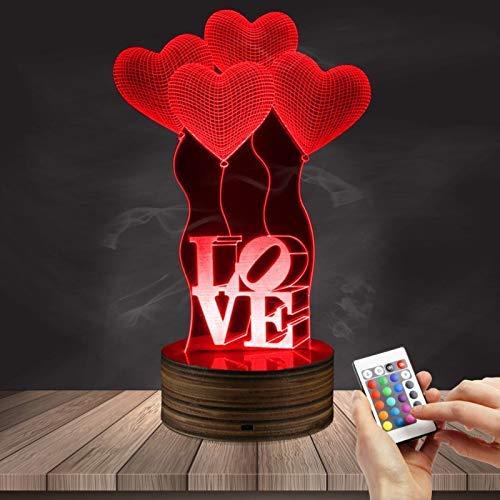 Lámpara De Mesa De Acrílico 3D Love Balloon Vision Light Led Control Remoto Color Ambiente Luz Nocturna Regalo