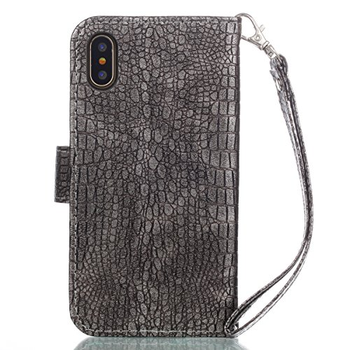 Casefashion Cover iPhone 8 Cassa Custodia Crocodile Grain PU Leather Protettivo Case Flip Stand Cover with Zipper Purse Built-in Card Slots and Lanyard Protettore for iPhone 8 (Red) Grigio Argento