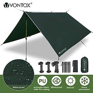 V VONTOX Zeltplane Wasserdicht, Tarp 3x3m-PU3000mm Schnee Regen Fliegen Sonnenschutz mit 6 Aluminiumstifte & 8…