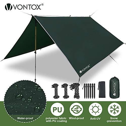 V VONTOX Zeltplane Wasserdicht, 3x3m-PU3000mm Regen Fliegen Sonnenschutz für Zelt, Anti-UV, Leichte Tragbare für Camping, Reisen, Hängematten Zelt Tarp