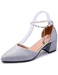 DIMAOL Zapatos de Mujer de Goma Confort de Verano Sandalias Chunky Talón Señaló La convergencia Para el Exterior...