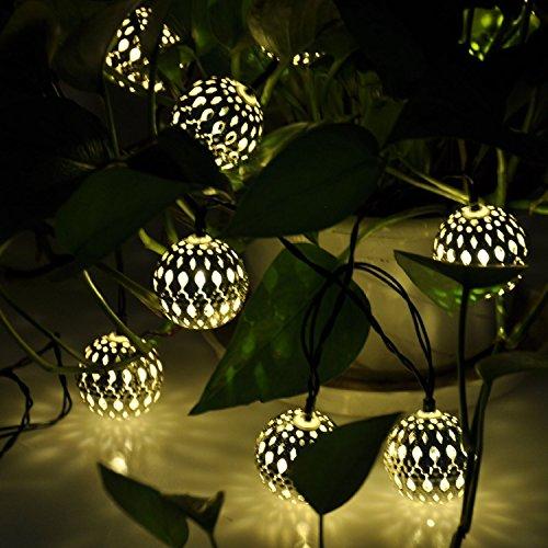 Solar Powered Silber Marokkanische Orb warmweiße LED-Schnur-Licht 5M 20 LED für Outdoor Gartenzaun Patio Weihnachtsfest -Hochzeit Dekoration