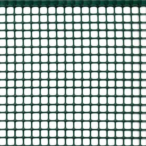 Rete Protettiva Plastica Maglia Quadrata per Balconi Cancelli Recinzioni o per Bordura Tenax Quadra 10 Verde 050 x 5 m