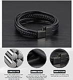 OSTAN – 316L Edelstahl und Leder Armband Armbänder für Herren – Neue Mode Schmuck Armschmuck, Schwarz - 5