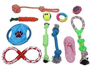 11 PCS Chien Jouet de Corde Durables Animaux, Jouets Grinçants Jouets à Mâcher Multicolore à Chiot Chien