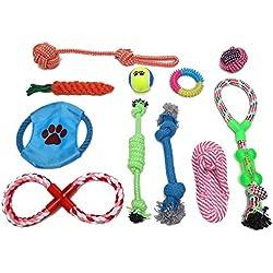 HOGAR AMO Set de 11 jueguetes para Perros, Duraderos para Masticar o Como Herramientas de Entrenamiento, Multicolores, para Cachorros y Perros de Pequeños a Medianos