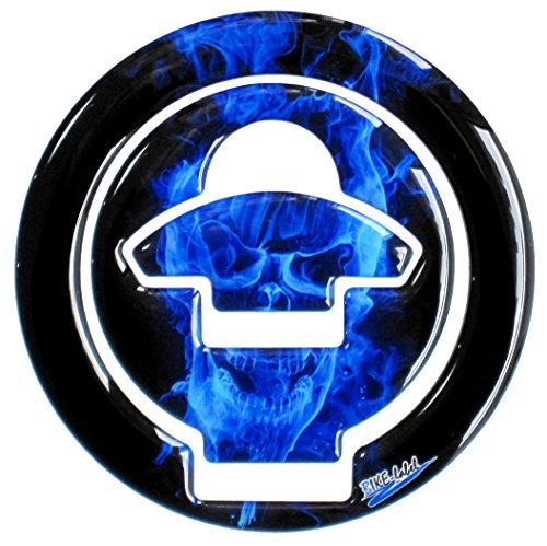 Flamme Pak (Tankdeckel 3D - Pad Ghost Blue Totenkopf-Motiv / Flammen Blau - 610008 - universell für Ducati Tanks)
