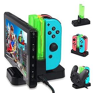 Ladestation für Nintendo Switch,KOBWA Ladestation für Nintendo Switch Controller Ladedock 6 in 1 Joy-Con Pro Controller Ladestation mit einzelnen LEDs Anzeige