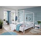 Lomado Himmelbett mit Nachttisch massiv weiß lackiert ● Liegefläche 140x200cm ● inkl. Nachtkommode ● Jugendbett Gästebett Einzelbett