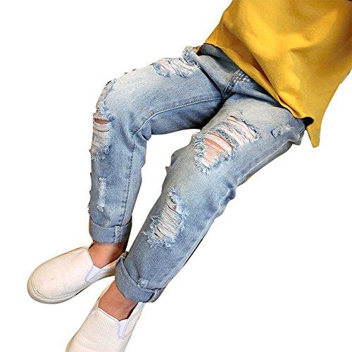 Niños y Niñas Vaqueros Rotos - Moda Cintura Media Casuales Denim Pantalones con Bolsillos Cómodo Cintura Elástica Jeans Unisexo Azul