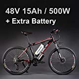 26 'vélo électrique d'alliage d'aluminium de batterie au lithium 48V 500W, vélo électrique de 27 vitesses, VTT / vélo de montagne, adoptent des freins à disque d'huile (15Ah Noir rouge Plus la batterie)