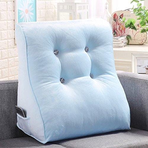 MMM- Chevet Triangulaire Coussin Oreiller Doux Cas Taille Pad Bureau Canapé Cou Garde Baie Fenêtre Dossier ( Couleur : Bleu clair , taille : De 55 cm )