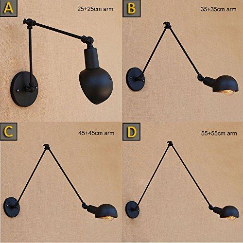 Loft-industrielle justierbare lange Schwingen-Arm-Wand-Lampen-Befestigung Weinlese-Edison-Birne Wandlamp-Lichter Lampen-Leuchter, B