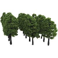 20pcs Árboles Modelos de Plástico de Escala 1: 100 para Paisaje de Tren de Color Verde Oscuro