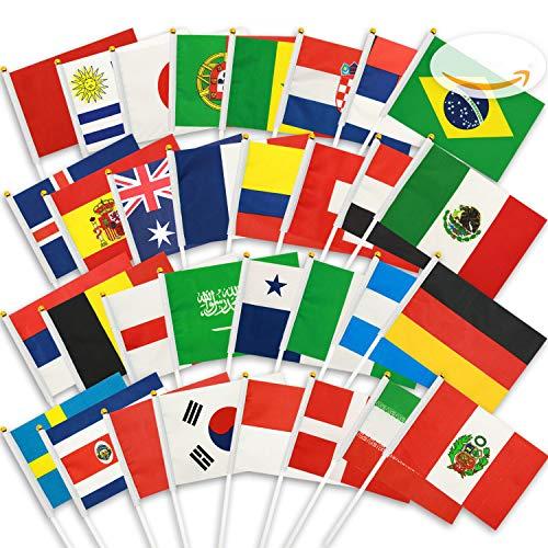 Nubstoer, 32 bandierine da sventolare a mano della coppa del mondo della russia, bandierine in tessuto, 32 nazioni per la notte di calcio