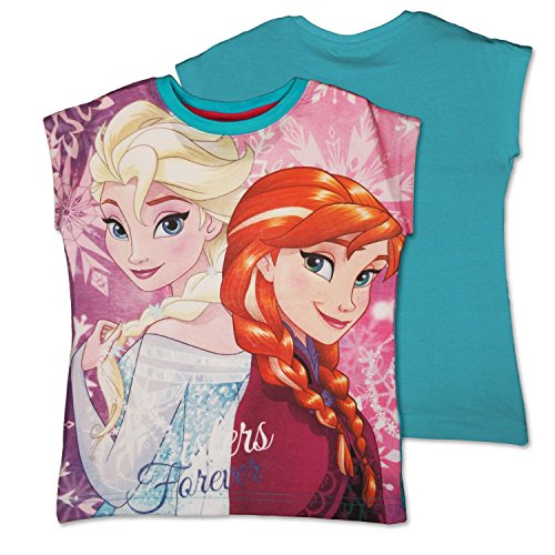 Disney frozen - t-shirt maglietta maniche corte - full print - bambina - elsa e anna - novità prodotto originale 94923225 [azzurro - 8 anni - 128 cm]