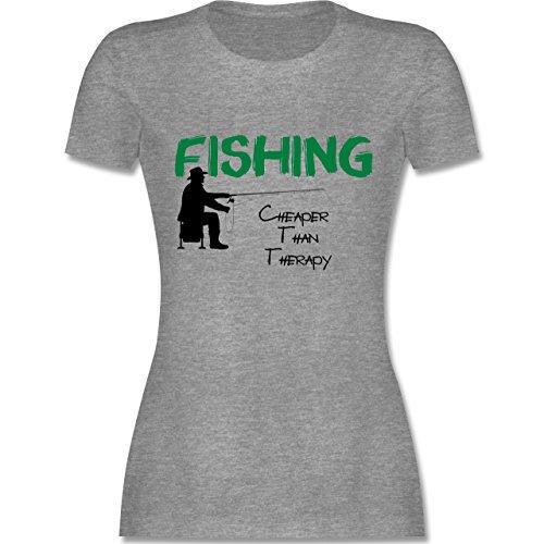 Angeln - Fishing - Cheaper Than Therapy - tailliertes Premium T-Shirt mit Rundhalsausschnitt für Damen Grau Meliert