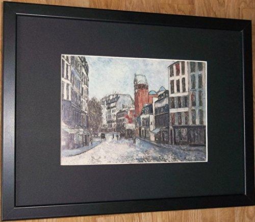 Gerahmtes Französisch Szene Druck–30,5x 40,6cm Rahmen, Rue des Abbesses von Utrillo